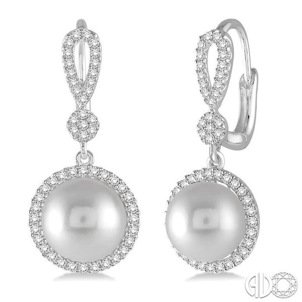 8x8 MM Cultured Pearl and 1/3 Ctw Round Cut Diamond Earrings in 14K White Gold Ross Elliott Jewelers Terre Haute, IN