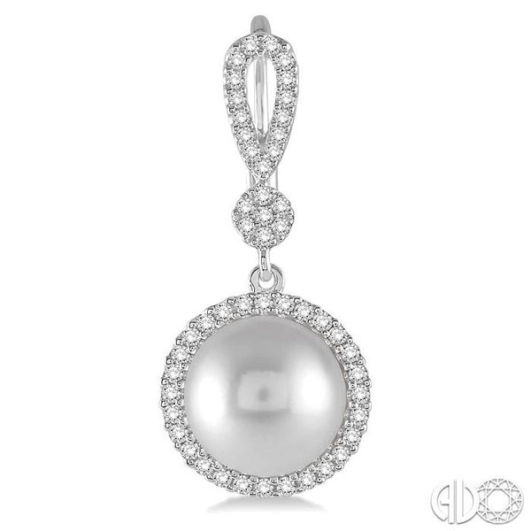 8x8 MM Cultured Pearl and 1/3 Ctw Round Cut Diamond Earrings in 14K White Gold Image 2 Ross Elliott Jewelers Terre Haute, IN
