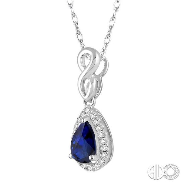 6x4 MM Pear Shape Sapphire and 1/10 Ctw Round Cut Diamond Pendant in 14K White Gold with Chain Image 2 Ross Elliott Jewelers Terre Haute, IN