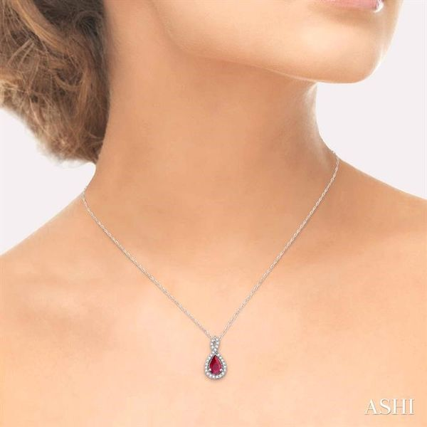 6x4MM Pear Shape Ruby and 1/10 Ctw Round Cut Diamond Pendant in 14K White Gold with Chain Image 4 Ross Elliott Jewelers Terre Haute, IN