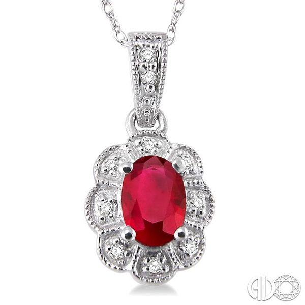 6x4mm Oval Cut Ruby and 1/20 Ctw Single Cut Diamond Pendant in 10K White Gold with Chain Image 3 Ross Elliott Jewelers Terre Haute, IN