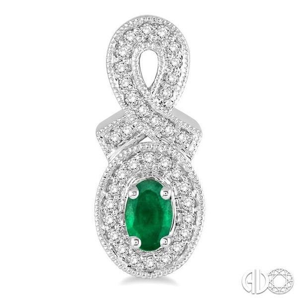 5x3 MM Oval Cut Emerald and 1/3 Ctw Round Cut Diamond Earrings in 14K White Gold Image 2 Ross Elliott Jewelers Terre Haute, IN