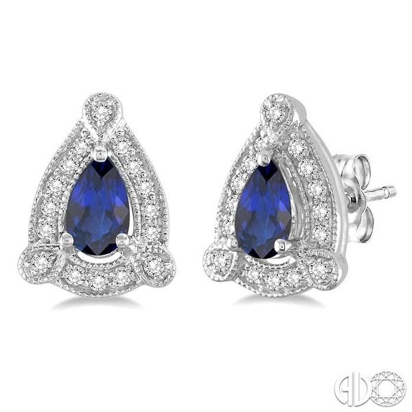 5x3 mm Pear Shape Sapphire and 1/6 Ctw Round Cut Diamond Earrings in 14K White Gold Ross Elliott Jewelers Terre Haute, IN