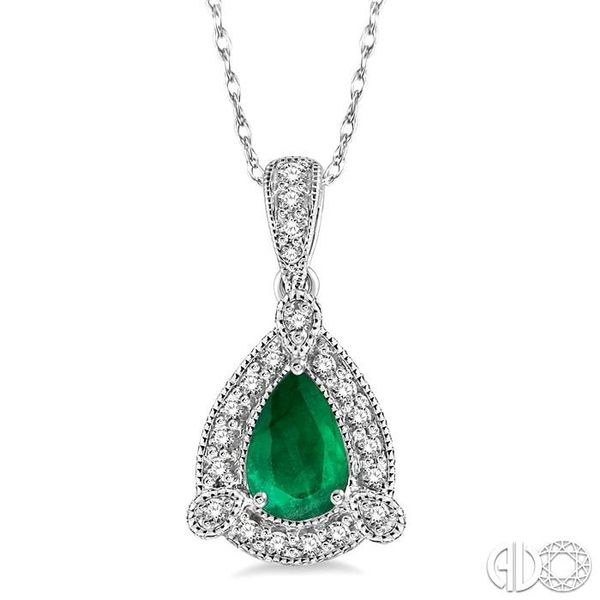 6x4 mm Pear Shape Emerald and 1/10 Ctw Round Cut Diamond Pendant in 10K White Gold with Chain Ross Elliott Jewelers Terre Haute, IN