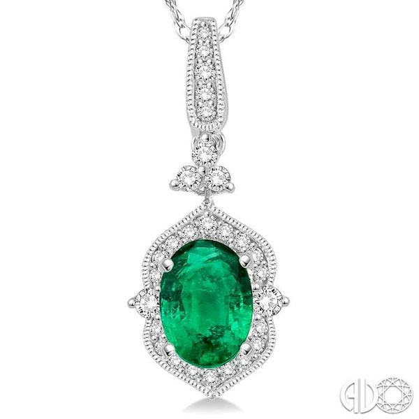 6x4 MM Oval Shape Emerald and 1/5 Ctw Diamond Pendant in 14K White Gold with Chain Image 3 Ross Elliott Jewelers Terre Haute, IN