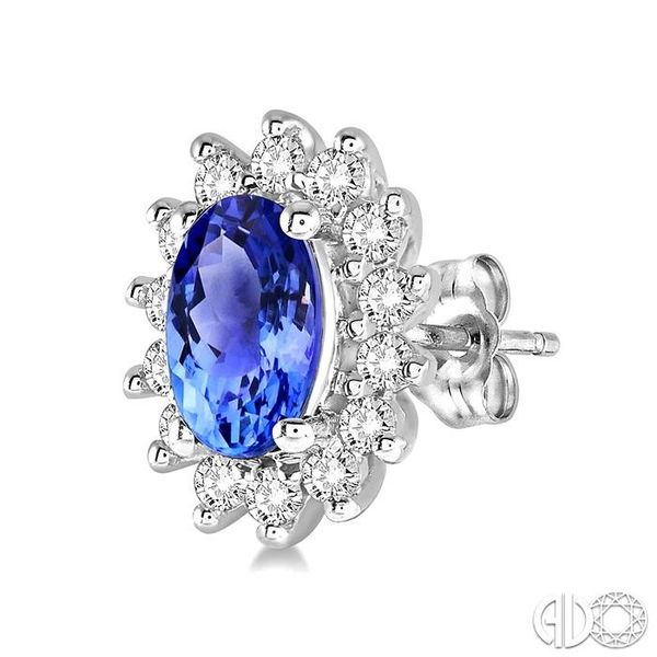 1/5 Ctw Round Cut Diamond and Oval Cut 5x3mm Tanzanite Center Sunflower Precious Earrings in 10K White Gold Image 3 Ross Elliott Jewelers Terre Haute, IN