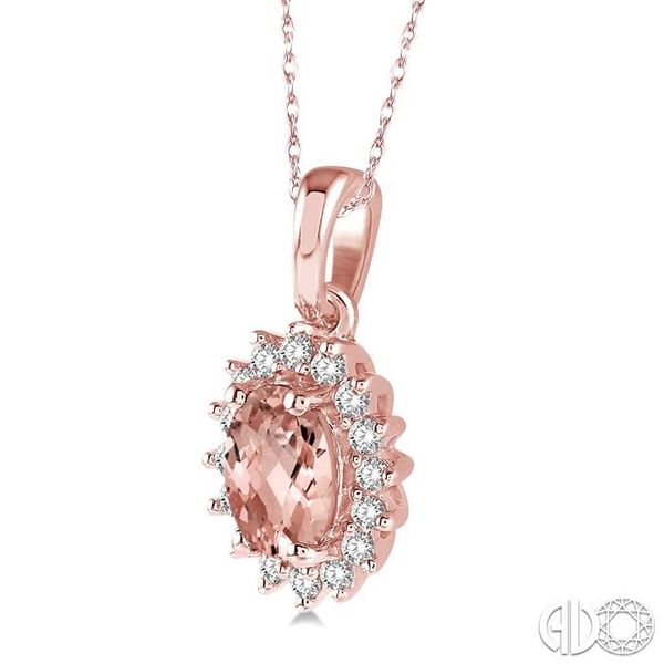 1/8 Ctw Round Cut Diamond and Oval Cut 6x4mm Morganite Center Sunflower Semi Precious Pendant in 10K Rose Gold with chain Image 2 Ross Elliott Jewelers Terre Haute, IN