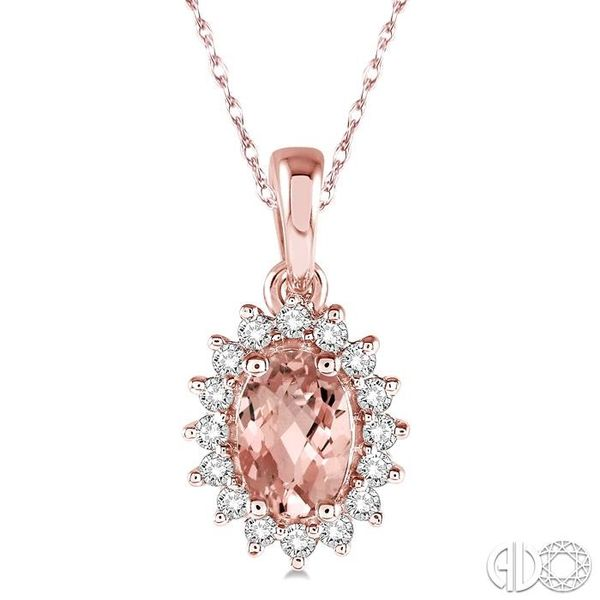 1/8 Ctw Round Cut Diamond and Oval Cut 6x4mm Morganite Center Sunflower Semi Precious Pendant in 10K Rose Gold with chain Ross Elliott Jewelers Terre Haute, IN