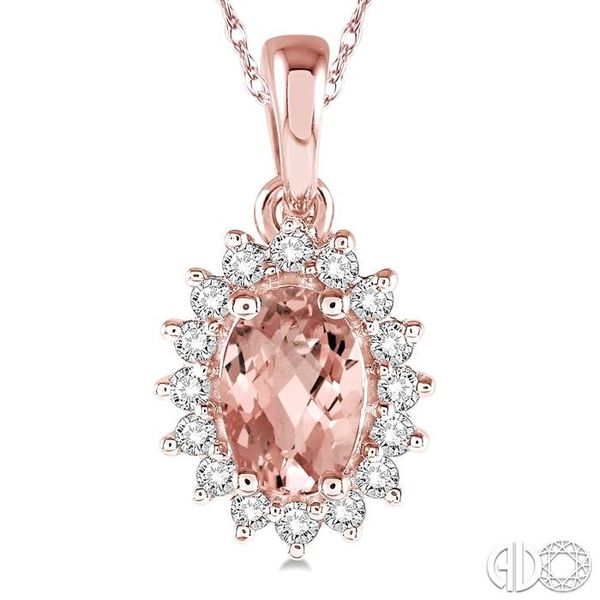 1/8 Ctw Round Cut Diamond and Oval Cut 6x4mm Morganite Center Sunflower Semi Precious Pendant in 10K Rose Gold with chain Image 3 Ross Elliott Jewelers Terre Haute, IN