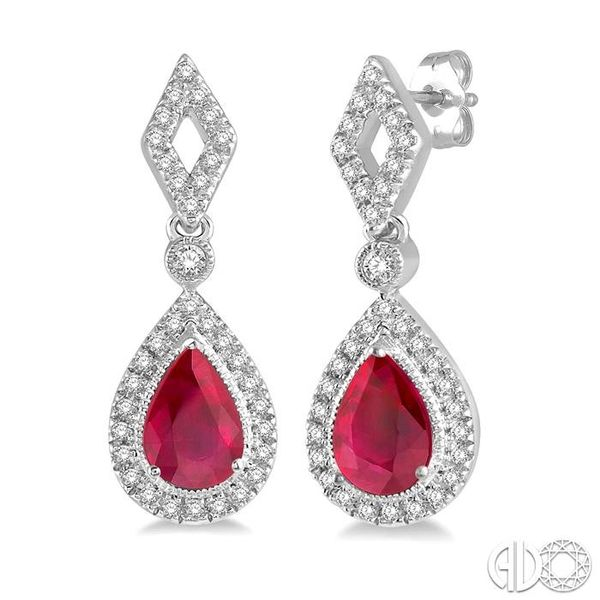 1/5 ctw Pear Shape 5x3mm Ruby & Round Cut Diamond Precious Earring in 10K White Gold Ross Elliott Jewelers Terre Haute, IN