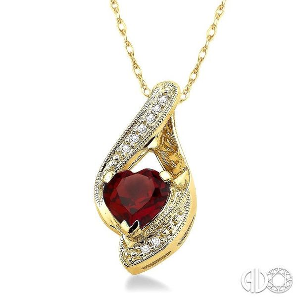 7X7mm Heart Shape Garnet and 1/20 Ctw Single Cut Diamond Pendant in 10K Yellow Gold with Chain Image 2 Ross Elliott Jewelers Terre Haute, IN