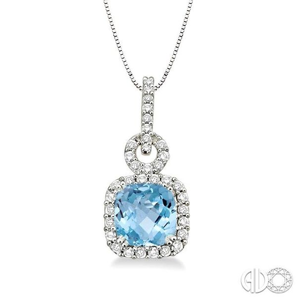 7mm Cushion Cut Aquamarine and 3/8 Ctw Round Cut Diamond Pendant in 14K White Gold with Chain Ross Elliott Jewelers Terre Haute, IN