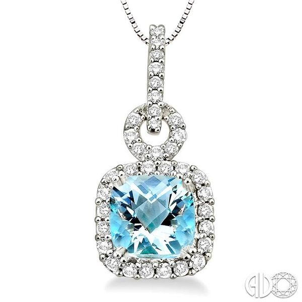 7mm Cushion Cut Aquamarine and 3/8 Ctw Round Cut Diamond Pendant in 14K White Gold with Chain Image 3 Ross Elliott Jewelers Terre Haute, IN