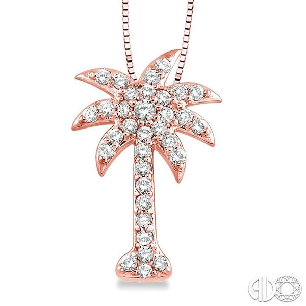 1/2 Ctw Round Cut Diamond Palm Tree Pendant in 14K Rose Gold with Chain Ross Elliott Jewelers Terre Haute, IN