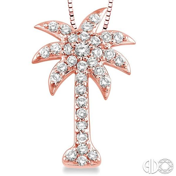 1/2 Ctw Round Cut Diamond Palm Tree Pendant in 14K Rose Gold with Chain Image 3 Ross Elliott Jewelers Terre Haute, IN