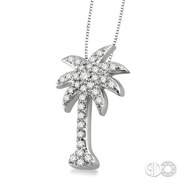 1/2 Ctw Round Cut Diamond Palm Tree Pendant in 14K White Gold with Chain Image 2 Ross Elliott Jewelers Terre Haute, IN
