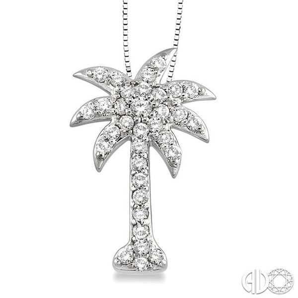 1/2 Ctw Round Cut Diamond Palm Tree Pendant in 14K White Gold with Chain Ross Elliott Jewelers Terre Haute, IN