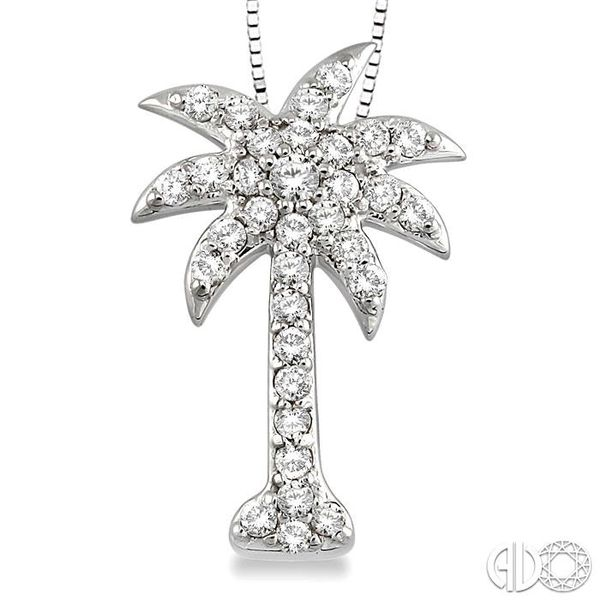1/2 Ctw Round Cut Diamond Palm Tree Pendant in 14K White Gold with Chain Image 3 Ross Elliott Jewelers Terre Haute, IN