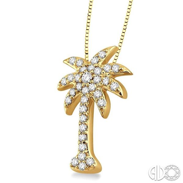 1/2 Ctw Round Cut Diamond Palm Tree Pendant in 14K Yellow Gold with Chain Image 2 Ross Elliott Jewelers Terre Haute, IN