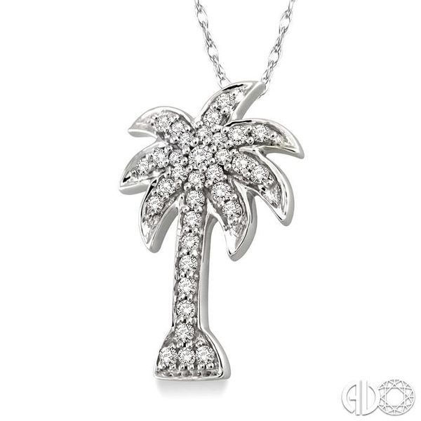 1/4 Ctw Palm Tree Round Cut Diamond Pendant in 10K White Gold with Chain Image 2 Ross Elliott Jewelers Terre Haute, IN