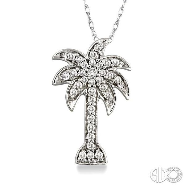 1/4 Ctw Palm Tree Round Cut Diamond Pendant in 10K White Gold with Chain Ross Elliott Jewelers Terre Haute, IN