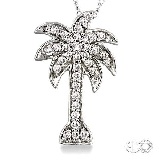 1/4 Ctw Palm Tree Round Cut Diamond Pendant in 10K White Gold with Chain Image 3 Ross Elliott Jewelers Terre Haute, IN