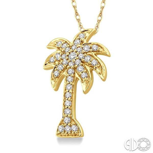 1/10 Ctw Palm Tree Single Cut Diamond Pendant in 14K Yellow Gold with Chain Image 2 Ross Elliott Jewelers Terre Haute, IN