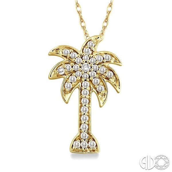 1/10 Ctw Palm Tree Single Cut Diamond Pendant in 14K Yellow Gold with Chain Ross Elliott Jewelers Terre Haute, IN