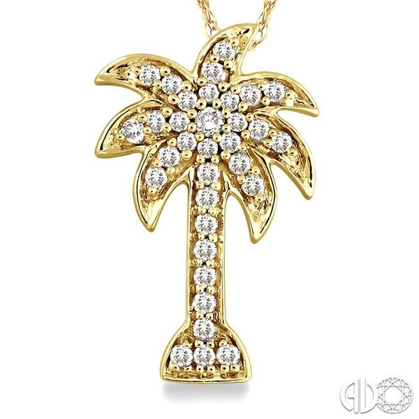 1/10 Ctw Palm Tree Single Cut Diamond Pendant in 14K Yellow Gold with Chain Image 3 Ross Elliott Jewelers Terre Haute, IN