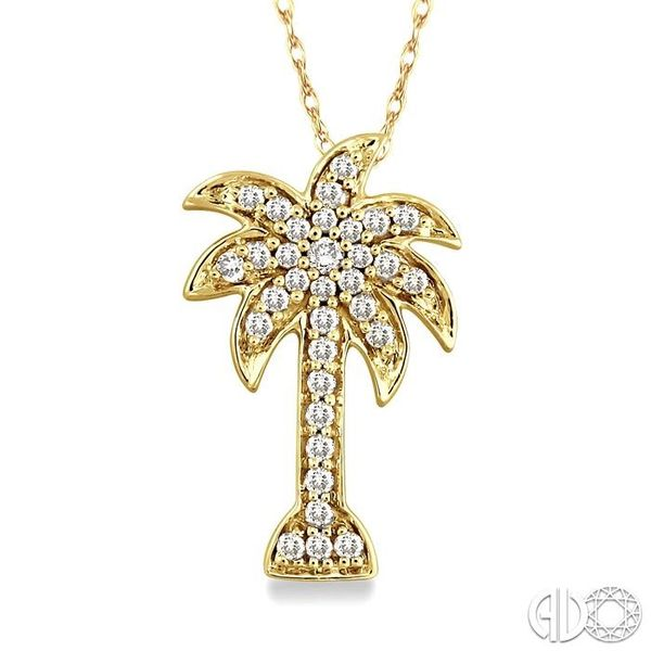 1/10 Ctw Palm Tree Single Cut Diamond Pendant in 10K Yellow Gold with Chain Ross Elliott Jewelers Terre Haute, IN