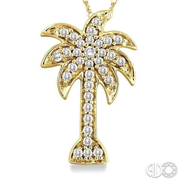1/10 Ctw Palm Tree Single Cut Diamond Pendant in 10K Yellow Gold with Chain Image 3 Ross Elliott Jewelers Terre Haute, IN