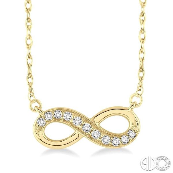1/6 Ctw Round Cut Diamond Infinity Pendant in 14K Yellow Gold with Chain Ross Elliott Jewelers Terre Haute, IN