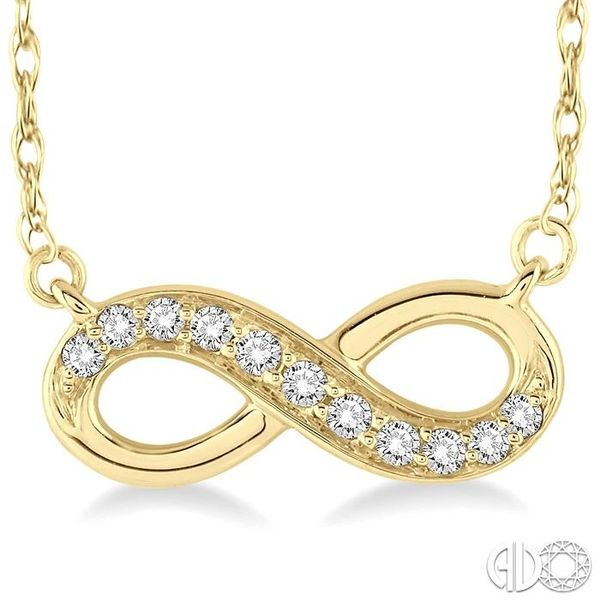 1/6 Ctw Round Cut Diamond Infinity Pendant in 14K Yellow Gold with Chain Image 3 Ross Elliott Jewelers Terre Haute, IN