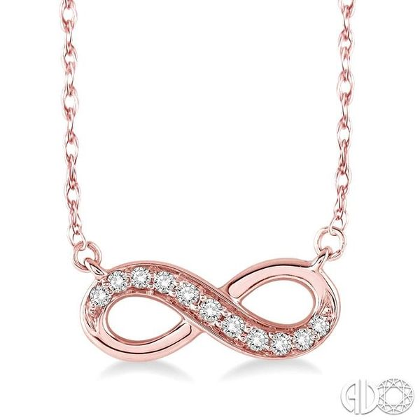 1/6 Ctw Round Cut Diamond Infinity Pendant in 10K Rose Gold with Chain Ross Elliott Jewelers Terre Haute, IN