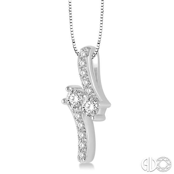 3/4 Ctw Asymmetrical 2Stone Round Cut Diamond Pendant With Box Link Chain in 14K White Gold Image 2 Ross Elliott Jewelers Terre Haute, IN