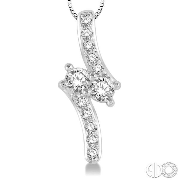 3/4 Ctw Asymmetrical 2Stone Round Cut Diamond Pendant With Box Link Chain in 14K White Gold Image 3 Ross Elliott Jewelers Terre Haute, IN