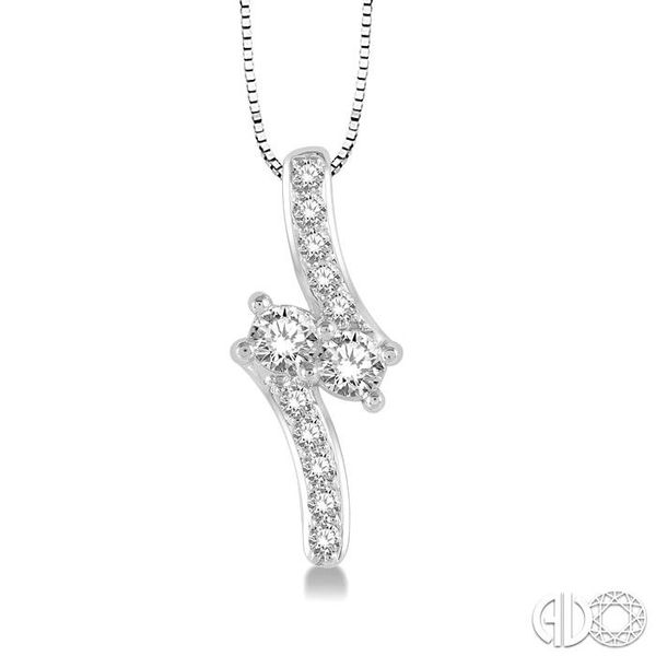 3/8 Ctw Asymmetrical 2Stone Round Cut Diamond Pendant With Box Link Chain in 14K White Gold Ross Elliott Jewelers Terre Haute, IN