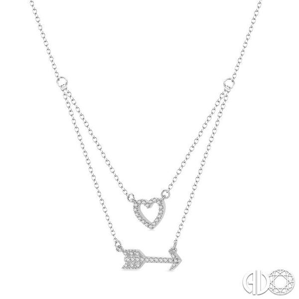 1/6 Ctw Heart & Arrow Charm Round Cut Diamond Layered Pendant With Link Chain in 10K White Gold Image 2 Ross Elliott Jewelers Terre Haute, IN