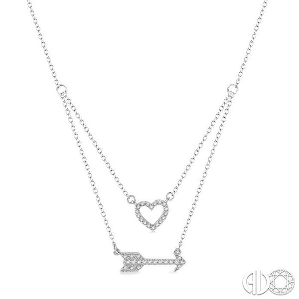 1/6 Ctw Heart & Arrow Charm Round Cut Diamond Layered Pendant With Link Chain in 10K White Gold Ross Elliott Jewelers Terre Haute, IN
