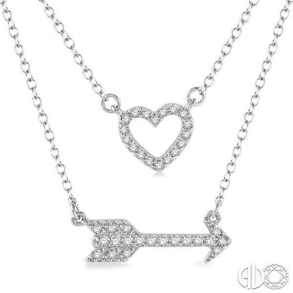 1/6 Ctw Heart & Arrow Charm Round Cut Diamond Layered Pendant With Link Chain in 10K White Gold Image 3 Ross Elliott Jewelers Terre Haute, IN