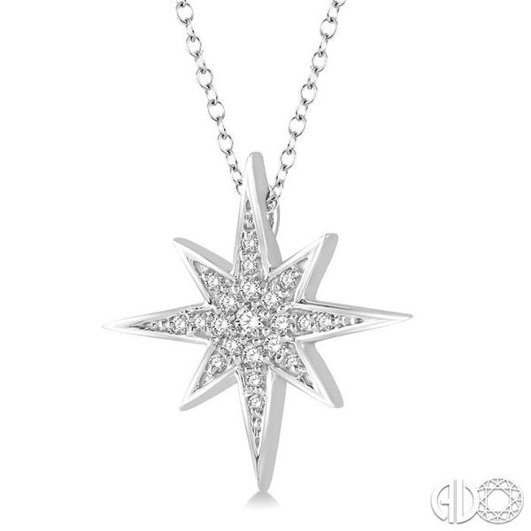 1/6 Ctw Star Charm Round Cut Diamond Pendant With Link Chain in 10K White Gold Image 2 Ross Elliott Jewelers Terre Haute, IN
