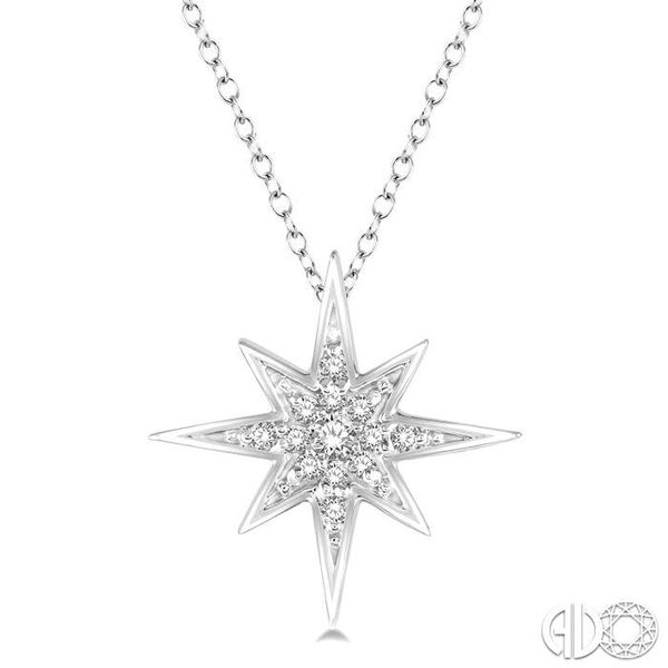 1/6 Ctw Star Charm Round Cut Diamond Pendant With Link Chain in 10K White Gold Ross Elliott Jewelers Terre Haute, IN
