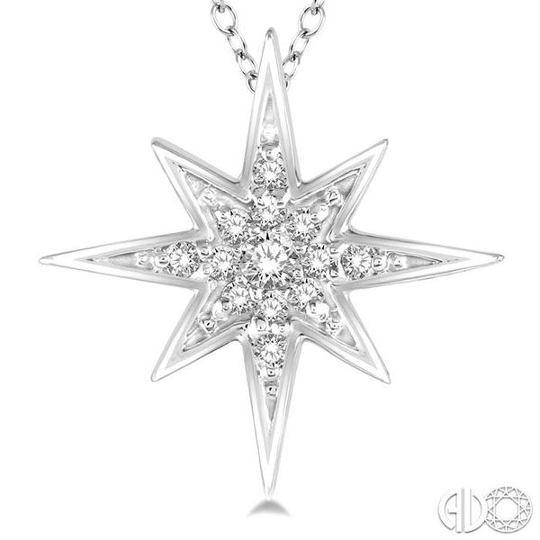 1/6 Ctw Star Charm Round Cut Diamond Pendant With Link Chain in 10K White Gold Image 3 Ross Elliott Jewelers Terre Haute, IN