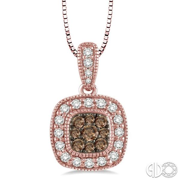 1/3 Ctw Round Cut White and Champagne Brown Diamond Fashion Pendant in 14K Rose Gold with Chain Ross Elliott Jewelers Terre Haute, IN