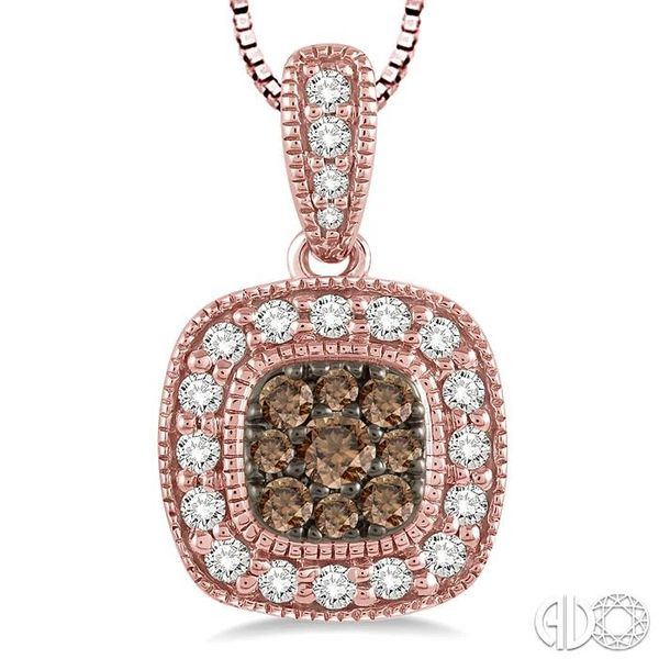 1/3 Ctw Round Cut White and Champagne Brown Diamond Fashion Pendant in 14K Rose Gold with Chain Image 3 Ross Elliott Jewelers Terre Haute, IN