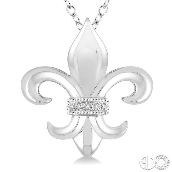 1/50 Ctw Round Cut Diamond Fleur De Lis Pendant in Sterling Silver with Chain Image 3 Ross Elliott Jewelers Terre Haute, IN