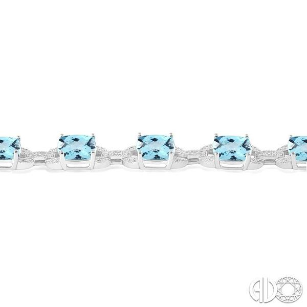 7x7 mm Cushion Cut Blue topaz and 1/20 Ctw Round Cut Diamond Fashion Tennis Bracelet in Sterling Silver Image 3 Ross Elliott Jewelers Terre Haute, IN