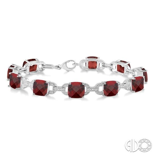 7x7 mm Cushion Cut Garnet and 1/20 Ctw Round Cut Diamond Fashion Tennis Bracelet in Sterling Silver Ross Elliott Jewelers Terre Haute, IN