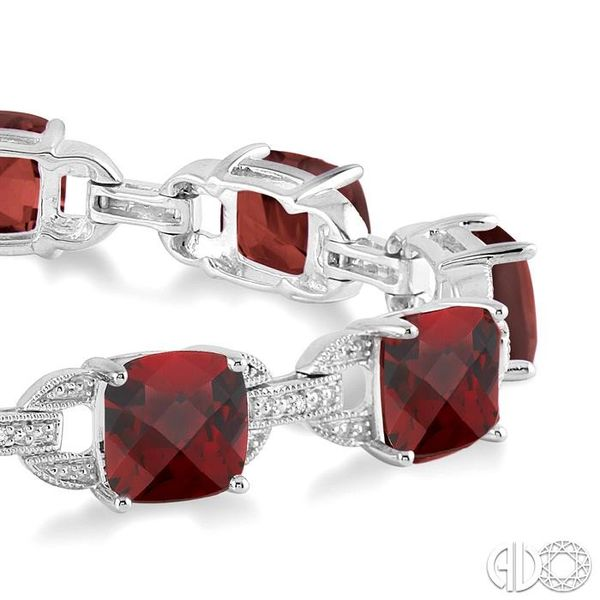 7x7 mm Cushion Cut Garnet and 1/20 Ctw Round Cut Diamond Fashion Tennis Bracelet in Sterling Silver Image 2 Ross Elliott Jewelers Terre Haute, IN
