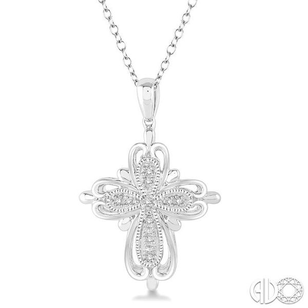 1/20 Ctw Round Cut Diamond Cross Pendant in Sterling Silver with Chain Ross Elliott Jewelers Terre Haute, IN